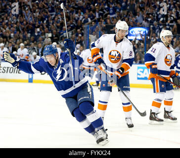 Tampa, Florida, USA. 27th Apr, 2016. DIRK SHADD | Times .Tampa Bay Lightning left wing Ondrej Palat (18) celebrates - Stock Photo