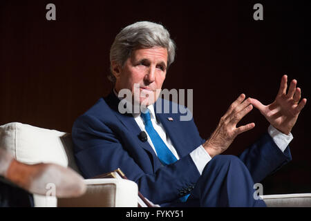 US Secretary of State John Kerry, speaking at the Vietnam War Summit, talks about his experience fighting in Vietnam - Stock Photo