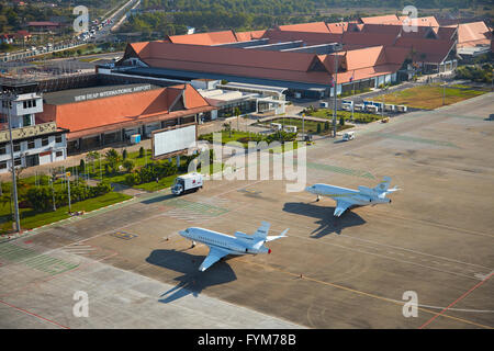 Private jets at Siem Reap International Airport, Siem Reap, Cambodia - aerial - Stock Photo