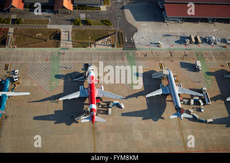 Jets at Siem Reap International Airport, Siem Reap, Cambodia - aerial - Stock Photo