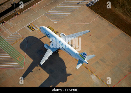 Sky Angkor Airlines Airbus A320 at Siem Reap International Airport, Siem Reap, Cambodia - aerial - Stock Photo
