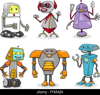 robots cartoon illustration set - Stock Photo