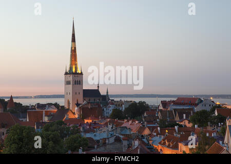 Panoramic view of Tallinn old city center - Stock Photo