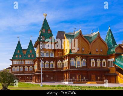 Wooden palace of Tsar Alexey Mikhailovich in Kolomenskoe - Moscow Russia - Stock Photo