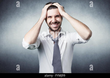 bearded man confused - Stock Photo