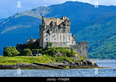 Eilean Donan Castle seen from the west at Loch Duich near Dornie, Western Ross-shire, Scotland, United Kingdom - Stock Photo