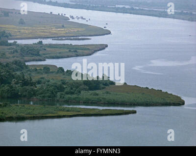 Top view of an agricultural land  a river - Stock Photo