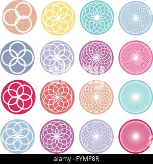 Round ornaments set. Abstract creative flowers - Stock Photo
