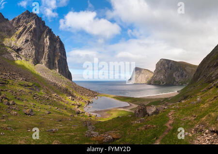 Paradise Kvalvika beach on Lofoten islands Norway - Stock Photo