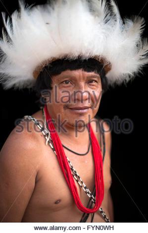 Gasmasakaka Surui  at Lapetanha with in the '7th September Indian Reserve' Rondonia, Brazil. - Stock Photo