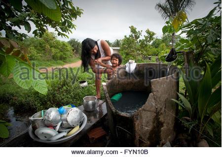 Surui at Lapetanha, Rondonia, Brazil at the '7th September Indian Reserve'. - Stock Photo