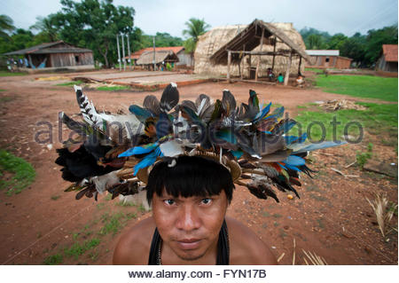 23 year old Mopidmore Surui at Lapetanha, Rondonia, Brazil at the '7th September Indian Reserve'. - Stock Photo