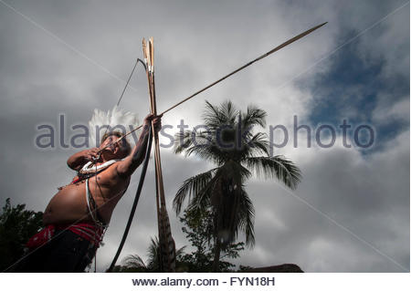 Moplip Surui in Lapetanha, Rondonia, Brazil at the '7th September Indian Reserve'. - Stock Photo