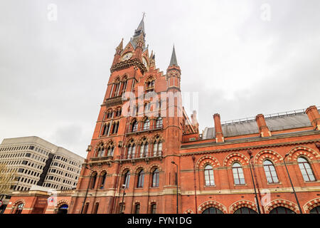 The historical St Pancras International station in a cloudy day - Stock Photo