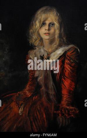 Franz von Lenbach (1836-1904). German painter. Portrait of Marion Lenbach, 1901. The artist's daughter. Oil on canvas. - Stock Photo