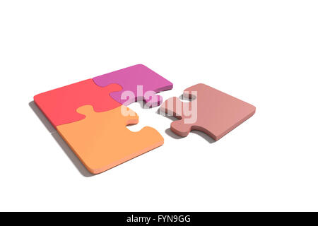 3d rendering of close-up of pastel colored puzzle pieces on white background. Isolated - Stock Photo