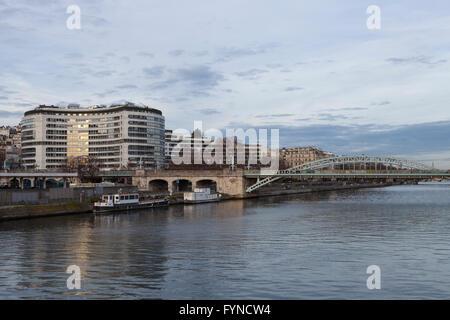 Kenndey rer station, from swan promenade, allee des cygnes, paris, 2015 - Stock Photo