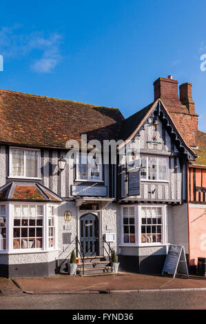 The Greyhound pub in the picturesque village of Lavenham , Suffolk , England , Britain , Uk - Stock Photo