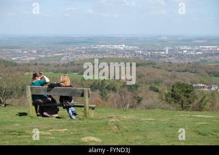 people enjoying the view from beacon hill in leicestershire - Stock Photo
