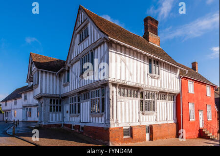 The famous Guildhall in the picturesque village of Lavenham , Suffolk , England , Britain , Uk - Stock Photo
