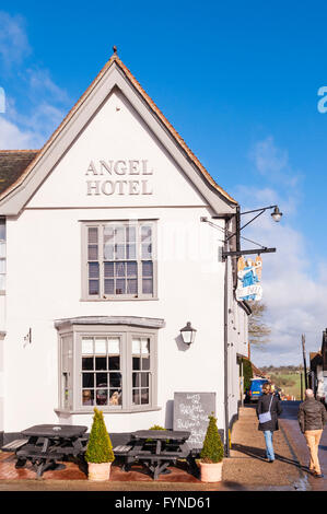The Angel Hotel in the picturesque village of Lavenham , Suffolk , England , Britain , Uk - Stock Photo