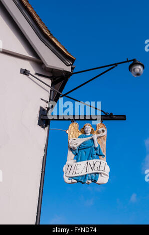 The Angel Hotel pub sign in the picturesque village of Lavenham , Suffolk , England , Britain , Uk - Stock Photo