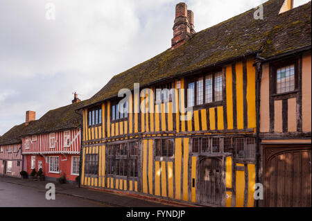Pretty timber framed houses in the picturesque village of Lavenham , Suffolk , England , Britain , Uk - Stock Photo
