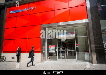 A branch of Bank of America in New York on Tuesday, April 26, 2016. Bank of America is to hold its annual shareholder - Stock Photo