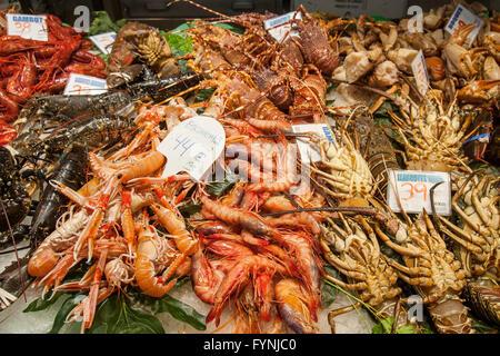 Seafood, Fish, Mercat de Sant Josep located on La Rambla, Boqueria market, Barcelona, Spain - Stock Photo