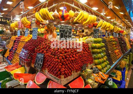 Fruits at Mercat de Sant Josep, Boqueria market, La Rambla, , Barcelona, Spain - Stock Photo