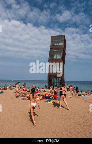 Rebecca Horn sculpture  'L'estel ferit' ( The wounded star ) on La Barceloneta beach, Barcelona, Spain, Europe - Stock Photo
