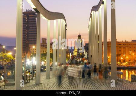 Rambla de Mar, Footbridge,  Port Vell,  Barcelona, Spain - Stock Photo