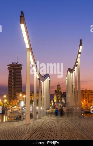 Rambla de Mar, Footbridge, sunset,  Port Vell,  Barcelona, Spain - Stock Photo