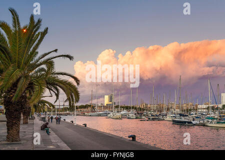 Promenade, Boats, Port Vell, Sunset,  Barcelona, Catalonia, Spain - Stock Photo