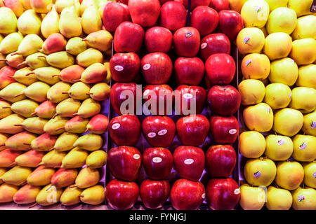 Fruits, Peers, Apples,   Mercat de Sant Josep located on La Rambla, Boqueria market, Barcelona, Spain - Stock Photo