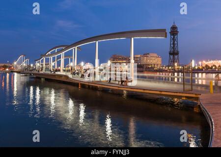 Footbridge, Rambla de Mar, Twilight, Port Vell, Barcelona, Catalunya, Spain - Stock Photo