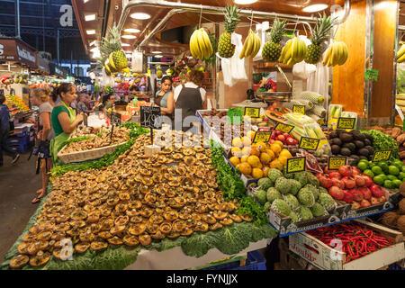 Fruits and vegetables,  Mercat de Sant Josep, Boqueria market, La Rambla, , Barcelona, Spain - Stock Photo