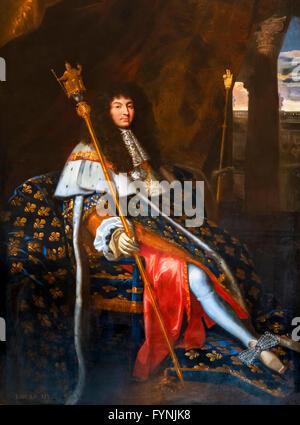 Louis XIV. Portrait of King Louis XIV of France by Henri Testelin, 1668. - Stock Photo