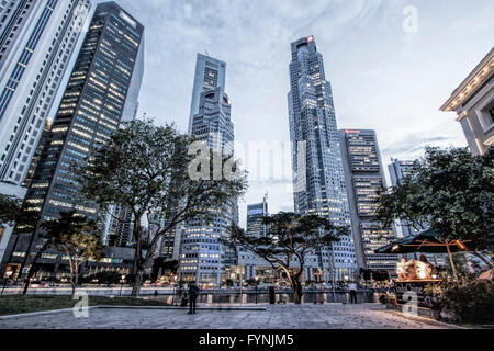 Asia Singapore, singapur skyline panorama - Stock Photo