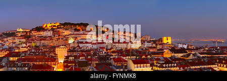 Colorful Lisbon panorama at beautiful twilight. Portugal - Stock Photo