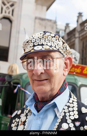 George Davison, the Pearly King of Newham, at the annual Pearly Kings and Queens Autumn Festival, Guildhall, London - Stock Photo