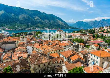 Top view on Kotor city and bay - Stock Photo