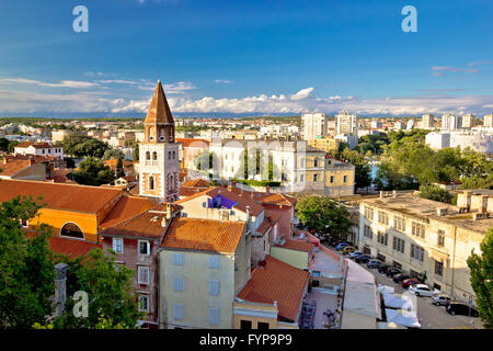 Ancient city of Zadar aerial view - Stock Photo
