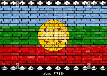 flag of Mapuche painted on brick wall - Stock Photo