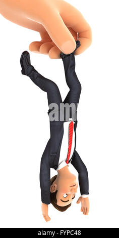 3d big hand catching businessman by foot, isolated white background - Stock Photo