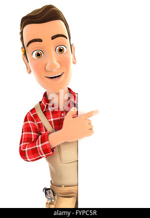 3d handyman pointing to right blank wall, illustration with isolated white background - Stock Photo