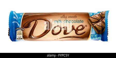 Winneconne, WI -1 Nov 2015: Dove silky smooth milk chocolate candy bar. - Stock Photo