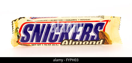 Winneconni, WI - 16 June 2015:  Snikcers candy bar with almonds - Stock Photo