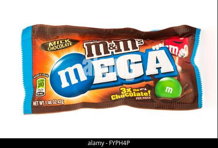 Winneconni, WI - 19 June 2015:  Mega M&M's chocolate candy - Stock Photo