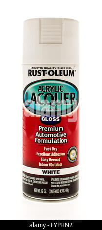 Winneconne, WI - 15 May 2015:  Can of Rust Oleum acrylic lacquer gloss. - Stock Photo